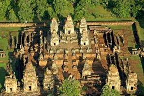 Flying over the temples of Angkor in a Microlight